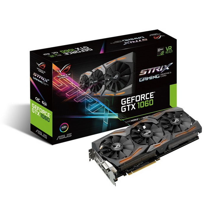 ASUS NVIDIA GEFORCE GTX 1060 STRIX OC RGB LED 6GB ( 192 BIT ) DDR5