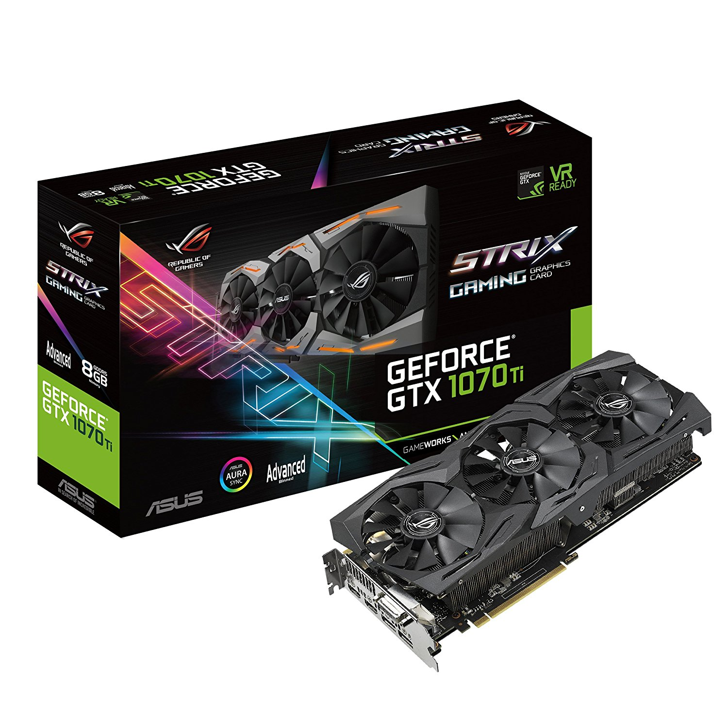 ASUS ROG STRIX GTX 1070 TI ADVANCE EDITION 8GB (256 BIT) DDR5