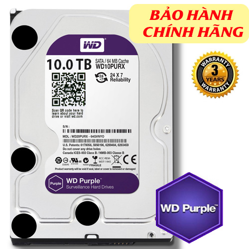 HDD Western Purple 10TB dòng ổ cứng chuyên dụng cho camera, 128MB (6Gb/s) /IntelliPower (RPM)/ SATA3), Màu tím (chính hãng)